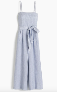 J.Crew striped linen jumpsuit with tie