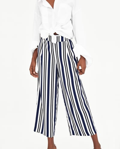 zara_FLOWING CROPPED TROUSERS