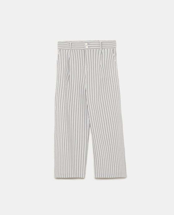 zara_STRIPED CROPPED TROUSERS